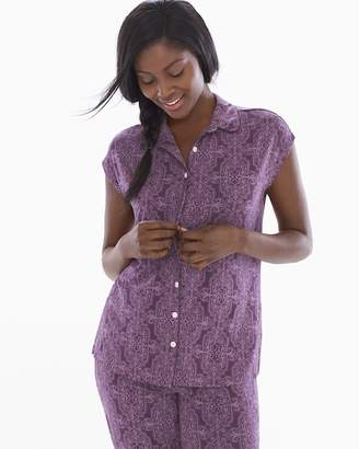 Cool Nights Cap Sleeve Notch Collar Pajama Top Imperial Nightshade