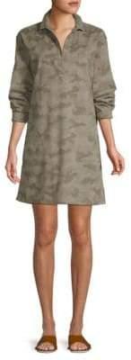 ATM Anthony Thomas Melillo Long Sleeve Cotton Camo Shirtdress