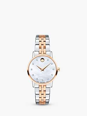 Movado 0607209 Women's Museum Classic Diamond Bracelet Strap Watch, Silver/Rose Gold