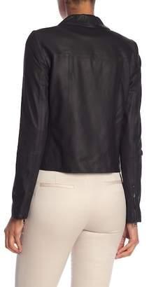 Alice + Olivia Warren Leather Drape Collar Jacket