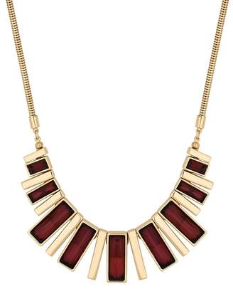 Principles by Ben de Lisi - Gold Red Crystal Fan Statement Necklace