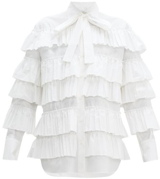 Valentino Long Sleeved Ruffled Cotton Blouse - Womens - White