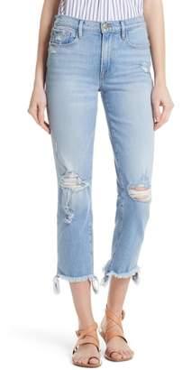 Frame Le Nouveau Distressed Ankle Straight Leg Jeans