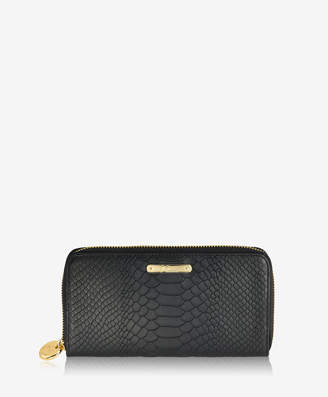 GiGi New York Large Zip Around Wallet, Black Embossed Python