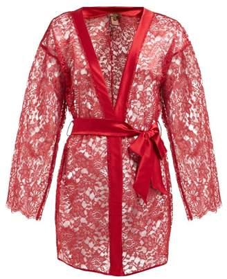 Coco De Mer - Venus Semi Sheer Lace Robe - Womens - Red