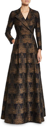 Akris Metallic Vienna Jacquard Long-Sleeve Evening Coat Gown