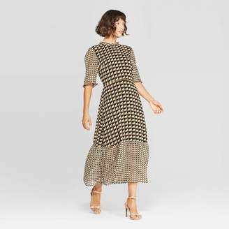 Who What Wear Women's Elbow Sleeve Crewneck A Line Midi Dress - Who What WearTM Black/White