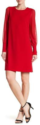 ABS by Allen Schwartz Collection Mesh Sleeve A-Line Dress