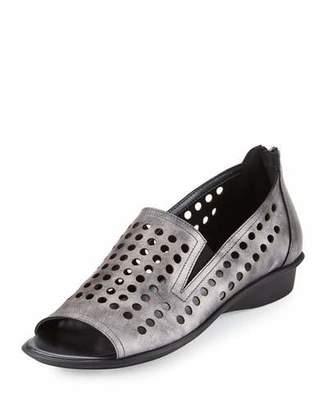 Sesto Meucci Ellen Perforated Comfort Slip-On Flat, Gray $165 thestylecure.com