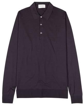 John Smedley Aubergine Wool Polo Shirt