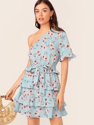Shein One Shoulder Ruffle Trim Floral Print Layered Hem Dress