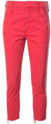 Mother cropped side-stripe jeans
