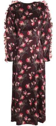 Mother of Pearl Ruffle-Trimmed Floral-Print Silk-Satin Midi Dress