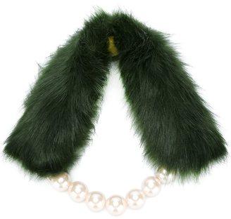 Twin-Set faux-fur & pearl scarf $59.60 thestylecure.com