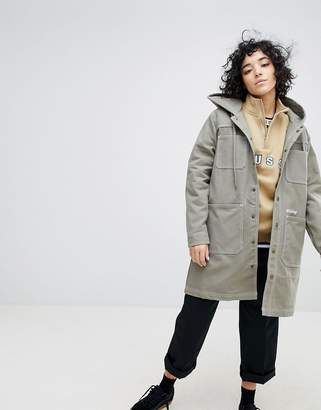 Stussy Longline Hooded Coat With Logo
