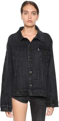 Filles a papa Twisted Crystal Embellished Denim Jacket