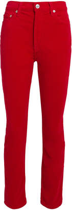 RE/DONE Red Velvet Kick Flare Crop Pants