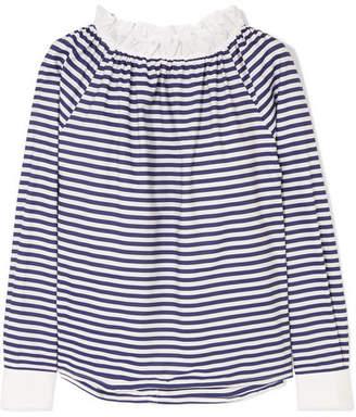 Atlantique Ascoli Conquête Ruffled Striped Cotton-poplin Blouse