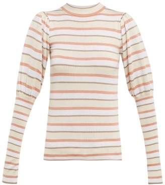 See by Chloe Striped Cotton Blend Sweater - Womens - White Multi