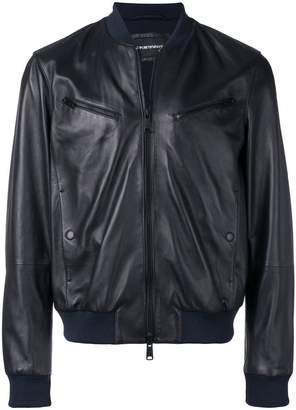 Emporio Armani leather look bomber jacket