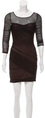 BCBGMAXAZRIA Mesh Overlay Mini Dress