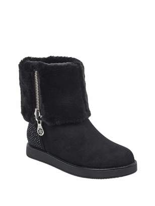 GUESS Women's Aie Faux-Fur Rhinestone Boots