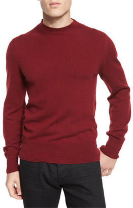 TOM FORD Classic Flat-Knit Cashmere Crewneck Sweater, Cherry $1,240 thestylecure.com