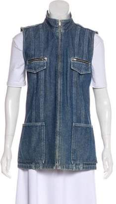 Ellen Tracy Denim Utility Vest blue Denim Utility Vest