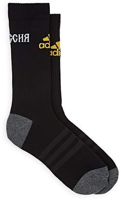 Gosha Rubchinskiy X adidas Men's Logo Mid-Calf Cotton-Blend Socks