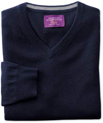 Charles Tyrwhitt Navy Cashmere V-Neck Jumper Size Large