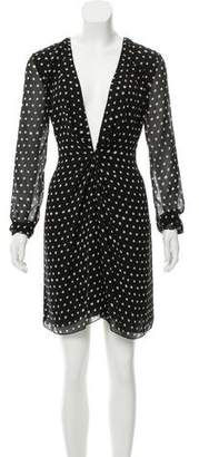 Saint Laurent Long Sleeve Silk Dress