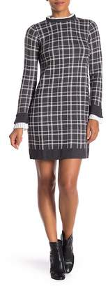 Vince Camuto Long Sleeve Shift Ruffle Trim Dress
