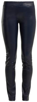 The Row Moto Low Rise Leather Trousers - Womens - Navy
