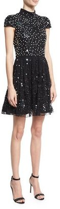 Alice + Olivia Maureen Cap-Sleeve Embellished Lace Cocktail Dress, Black $1,095 thestylecure.com