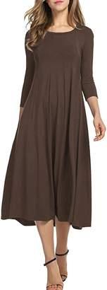 Herose Ladies Solid Color Crewneck 3/4 Sleeve Pleated Flare Hem Long Dress S
