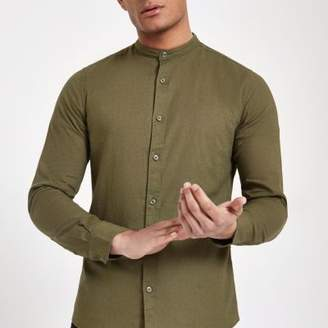 River Island Only and Sons khaki grandad slim fit shirt