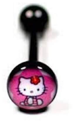 Hello Kitty Pashoshka Tongue Ring Titanium Black (2 Pieces)
