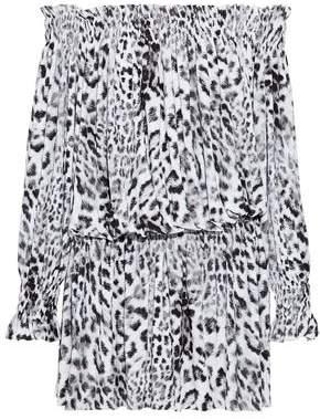 Norma Kamali Off-The-Shoulder Shirred Leopard-Print Jersey Mini Dress