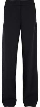 Cédric Charlier Ruffle-Trimmed Paneled Wool And Houndstooth Wide-Leg Pants