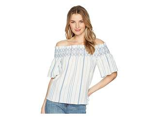 1 STATE 1.STATE Off Shoulder Smocked Shirt with Embroidery