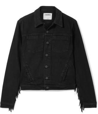 L'Agence Celine Fringed Denim Jacket - Black