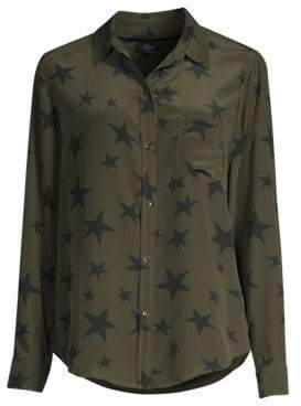 Rails Kate Star Button-Down Silk Blouse