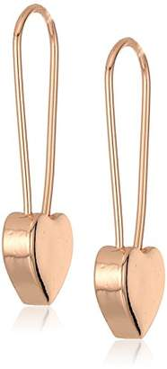 Betsey Johnson Women's Heart Safety Pin Earrings