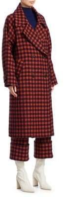 Sea Pop Plaid Stretch Wool Coat