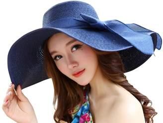 SHINA Women Ribbon Derby Hat Floppy Wide Brim Hat Large Beach Hat UV Sun Hat 47a19794f7e