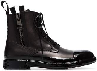 Dolce & Gabbana Black Lace-up chunky leather boots