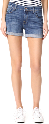 7 For All Mankind Relaxed Mid Roll Shorts $159 thestylecure.com