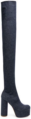 Vetements Denim Thigh High Platform Boots