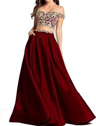 Bonnie_Shop Bonnie Lace Bodice Prom Dresses Long 2018 Two Piece Off The Shoulder Ball Gown BS034