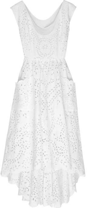 Oscar de la Renta Embroidered linen dress